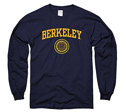 Men's UC Berkeley One Color Berkeley Arch & Seal Long Sleeve T-Shirt L Navy