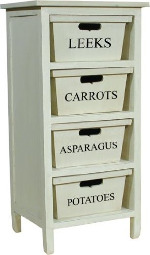 Off White Tinted Wooden 4 Drawer Vegetable Rack Cabinet From Centurion Pine