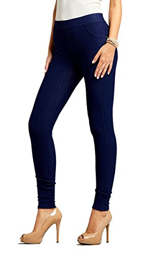 Denim Leggings Stretch (Conceited Premium Soft Jeggings Denim Leggings in 7 Colors - Regular and Plus Sizes by (Large/X-Large, A Denim Blue))