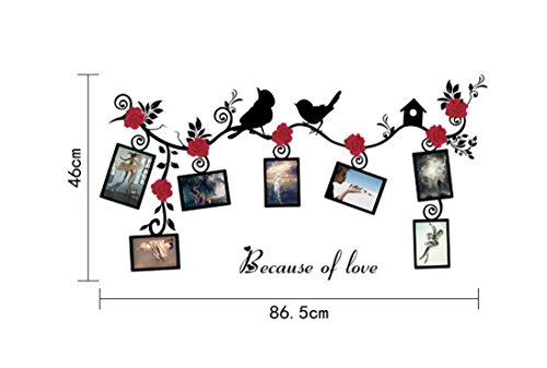 Gbell DIY Removable PVC Photo Frame,Creative Bird Wall Decal Family Home Sticker Mural Art Home Decor for Kids Baby Room,Glass Door,Car Body (Multicolor)
