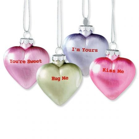 Lillian Vernon Pastel Candy Conversation Hearts Glass Valentine's Day Ornaments - Set of 12, 4 Designs, Party Decorations, Holiday Home Decor, 1-1/4 x 2 x 2-1/2
