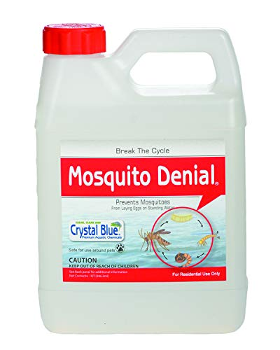 Crystal Blue Mosquito Denial - Prevents Mosquitos from Laying Eggs on Standing Water - 1 Quart -