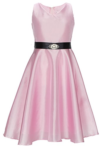 Sash Taffeta Wedding Dress (Wonder Girl Big Girls' Occasion V Neck Brooch Pink Taffeta Dress Black Sash 14)