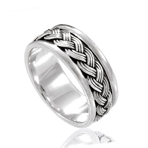 925 Sterling Silver 8 mm Braided Woven Wave Celtic Band Ring - Nickle Free Size (Sterling Silver Celtic Wave)