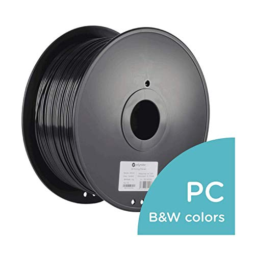 Polymaker PC-Max 3D Printer Filament, PC Filament(Polycarbonate), True Black, 2.85 mm 3 Kg, 110C Heat Resistant, Easy to Print, Harder and Stronger Than Regular PC...