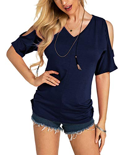 (YOINS Women Blouse Cold Shoulder Pleated Sexy V-Neck Short Sleeves Loose Fit Tee Pullover Casual Top Navy L)
