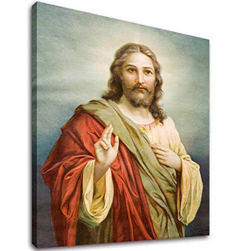 Canvas Wall Art 30 x 40 Jesus God Painting Print Long Pictures Modern Religious Canvas Artwork Framed for Living Room Bedroom Home Decoration Ready to Hang
