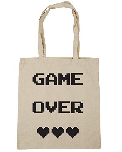 Hippowarehouse Game Over Shopping Bag Borsa Da Palestra Da Spiaggia 42cm X38cm, 10 Litri - Naturalmente, Taglia Unica