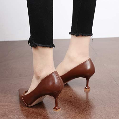 KPHY Damenschuhe/Flache Hochhackigen Schuhe Frauen Einzelne Schuhe Einfach Darauf Temperament Kleine Ferse Temperament Darauf Katze Meter Schwarz 34 - ec7e70