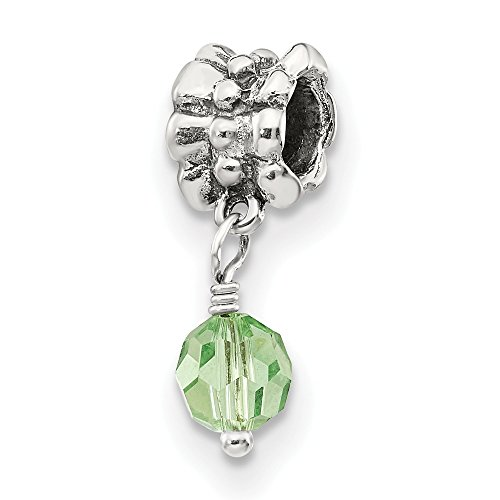 Sterling Silver Polished Antique finish Reflections SimStars Green Dangle Bead Charm