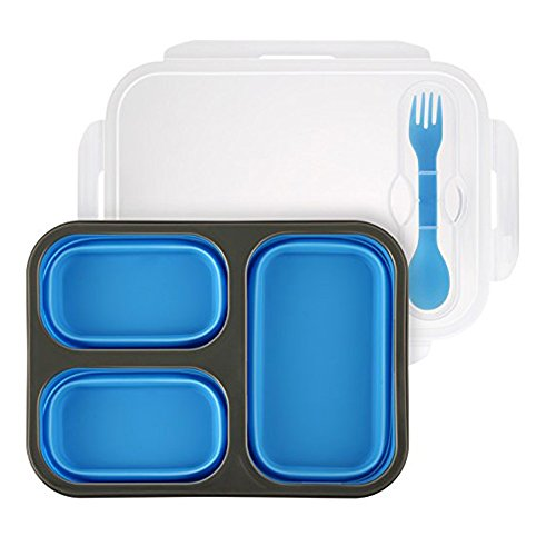 Collapsible 3-Compartments Bento Lunch Box,Leakproof Silicone Lunch compartment container with Spork for Adults, Kids(Include with 10pcs Animal Fruit Fork)(blue) by Jinziyi