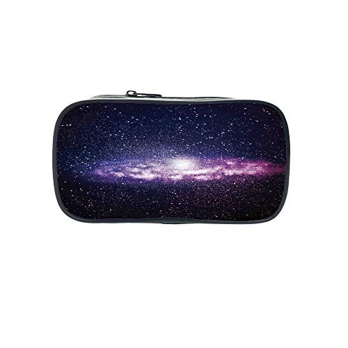 Diversified Style Pen Bag,Galaxy,Nebula Cloud in Milky Way Infinity in Interstellar Solar System Design Print,Purple Dark Blue,for Children,3D Print Design by iPrint