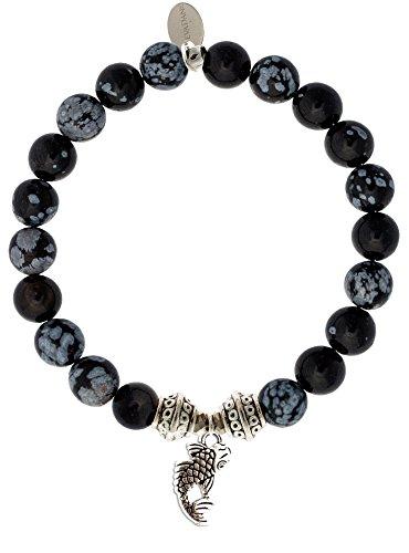 EvaDane Natural Snowflake Obsidian Gemstone Tibetan Bead Koi Fish Charm Stretch Bracelet - Size 9 Inch (1_SOB_S_T_KOI_9)