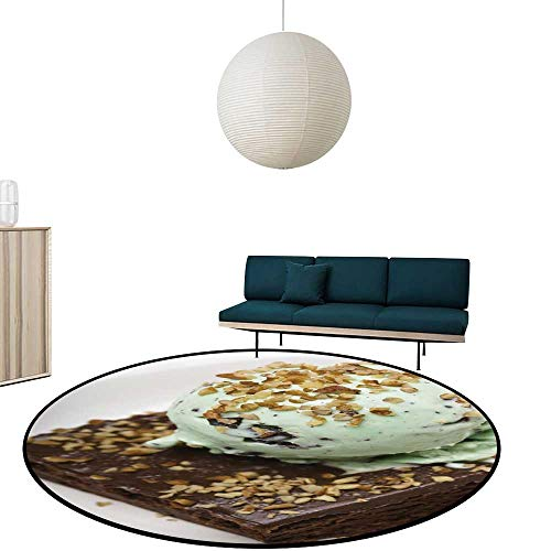 Custom&blanket Round Area Rugs Fudge Brownie Mint Chocolate chip ice crea Nuts Multi-Color Super Soft Diameter-47.2