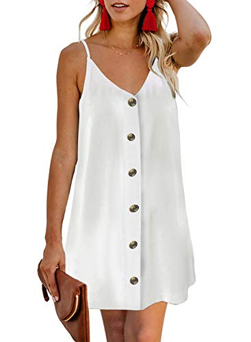 (BLENCOT Women's Summer V Neck Button Down Strappy Sleeveless Casual Flowy Mini Dress White S)