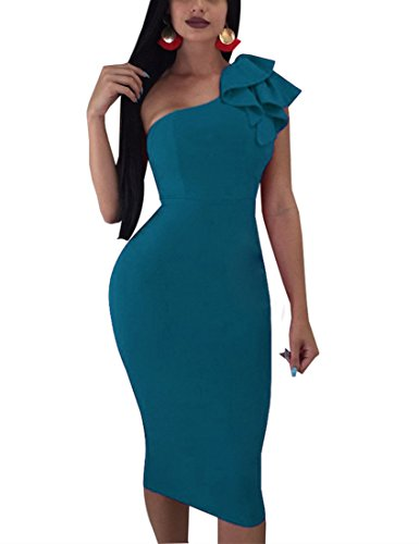 Mokoru Women's Sexy Ruffle One Shoulder Sleeveless Bodycon Party Club Midi Dress, Medium, Navy Blue (Peacock Party Dress)