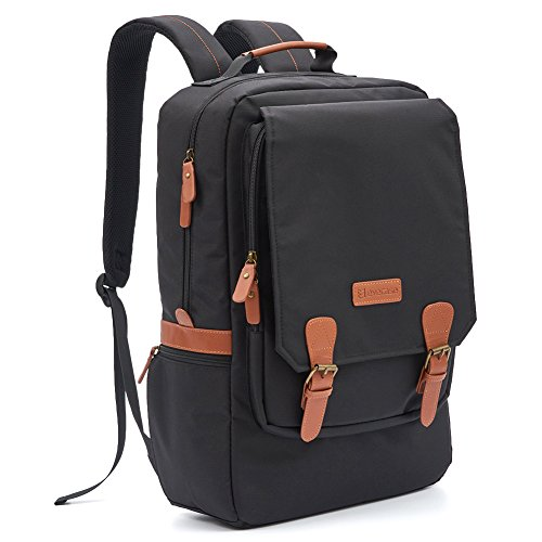 Laptop Backpack, Evecase Water Resistant Multipurpose College Travel School Laptop Backpack fits up to 17-inch Laptop - Black and Brown Buckle