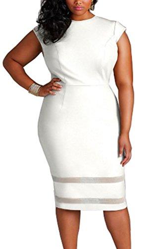 Damen Plus Size Gap Ärmel Bleistift Bodycon Partei Büro Kleid White ...