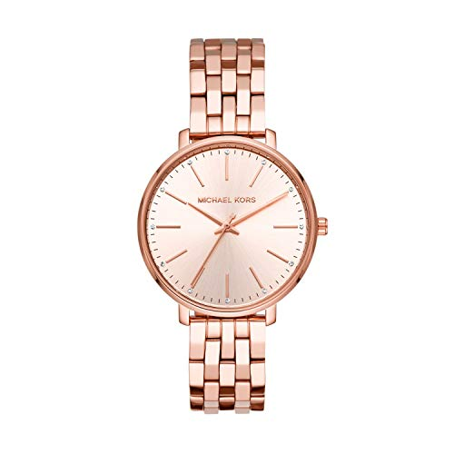 Michael Kors Women's Pyper Quartz Watch with Stainless-Steel-Plated Strap, Rose Gold, 16 (Model: MK3897)