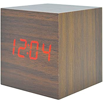 Wooden LED Alarm Clock Digital Cube Desktop Silent Operation Electronic Calendar Home Snooze Travel Clock of 3 Alarm Setting With Sound Control Function (Brown Wood Red Light)