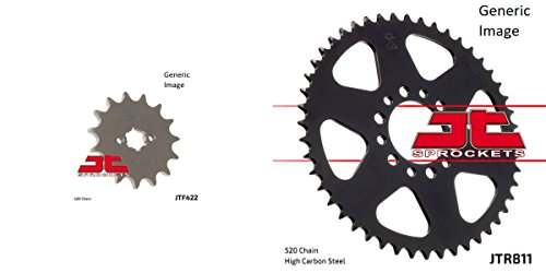 (JT SPROCKETS Front and Rear Steel Sprocket Kit for OffRoad SUZUKI TS185)