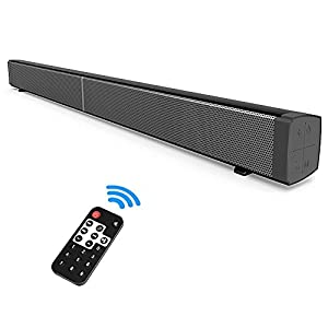 40 Watt TV Sound Bar 2.0 Channel Wireless Bluetooth Soudbar Built-in Subwoofer, Stereo Bluetooth Speaker with Built-in Microphone Remote Control Wall Mountable TF Card LED indicator (Black)