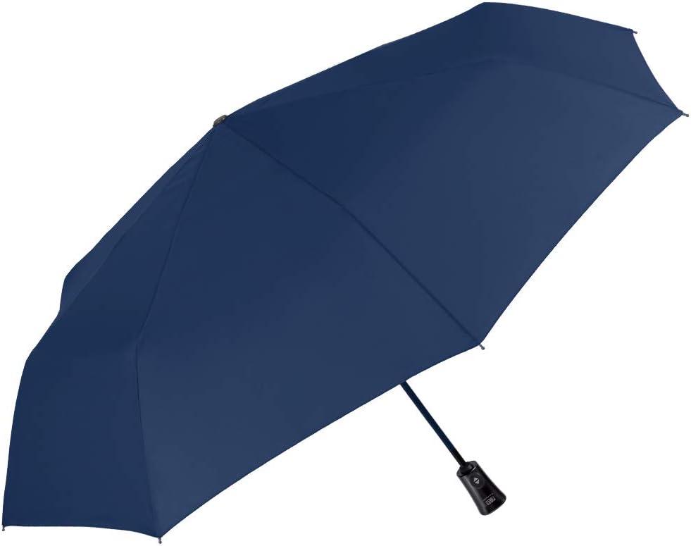 Paraguas Plegable Hombre Liso - Mini Compacto Colores Solidos - Ligero y Antiviento de Fibra de Vidrio - Abre y Cierra Automatico - PFC FREE - Diametro Grande 104 cm - Perletti Technology (Azul)