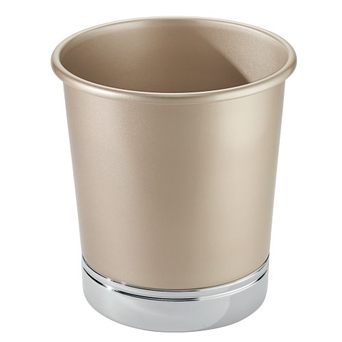InterDesign York Metal Wastebasket Trash Can, Pearl Champagne/Chrome by InterDesign