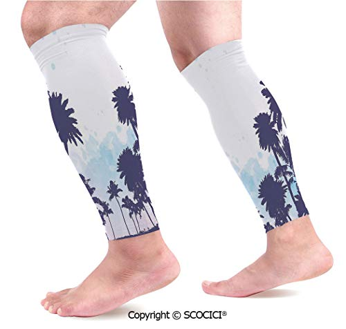 Flexible Breathable Comfortable Leg Skin Protector Sleeve Miami South American Plant Forest Tropic Natural Palm Trees Art Print Calf Compression Sleeve