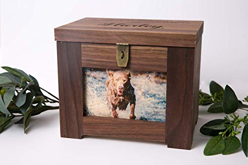 Personalized Premium Wood Pet Memory Box with Name and Quote or Poem - Memorial Photo Frame Chest Picture Keepsake - Dog, Cat, Lizard, Bird