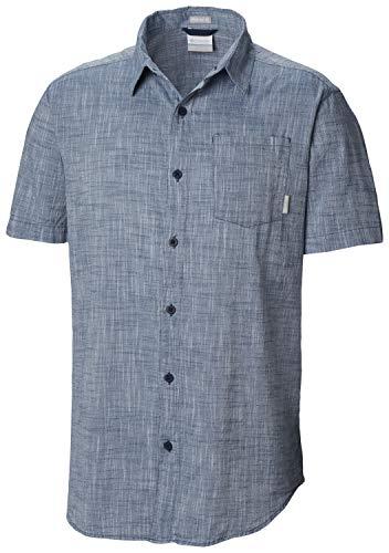 (Columbia Men's Under Exposure Yarn Dye Short Sleeve Shirt, Petrol Blue M)