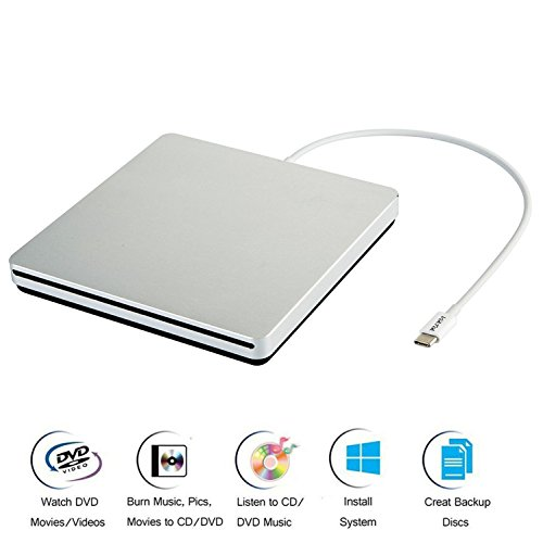 VikTck USB-C Superdrive External DVD/CD Reader and DVD/CD Burner for Apple--MacBook Air/Pro/iMac/Mini/MacBook Pro/ASUS /ASUS/DELL Latitude with USB-C Port Plug and Play(Silver) by VikTck