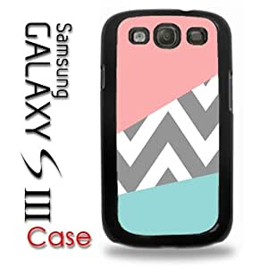 Samsung Galaxy S3 Plastic Case - Pink and Baby Blue Design with grey Chevron Pattern Cute