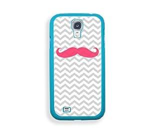 Pink Mustache Aqua Plastic Bumper Samsung Galaxy S4 I9500 Case - Fits Samsung Galaxy S4 I9500