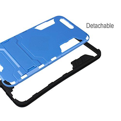 "Rosa Schleife Ultra Delgada Huawei P10 Plus Funda de Protección Híbrido Armadura Escabroso Caso Doble Capa Carcasa Trasera Función de Soporte Funda de Móvil Para Huawei P10 Plus (5.5""), Negro Azul"