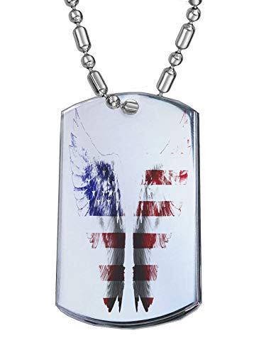 Sunshine Cases American Angel Wings - Military Dog Tag Luggage Tag Key Chain Metal Chain Necklace