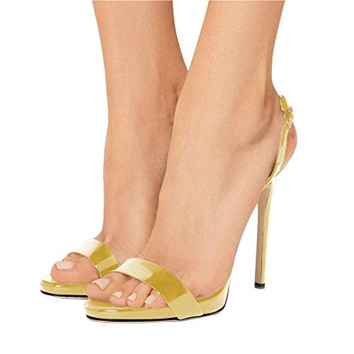 15 4 Sexy Shoes Ankle Slingback Heel Evening High Stiletto FSJ Women Yellow Open Size Toe US Sandals Strap S6Hx1Z
