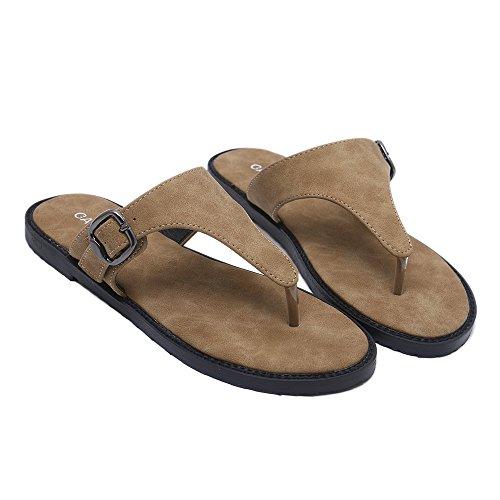 Leather Bke (Hanglin Trade Summer Women Flip Flops Slipper Leather Casual Lady Shoes Women Flats Slippers Plus Size(Brown 37/6.5 B(M) US Women))