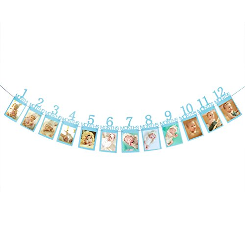 Baby First Birthday Banner, Blue Glitter Growth Record 1-12 Month Photo Props Baby Boy Party Decoration Supplies by INNORU