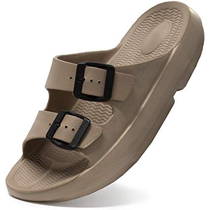 Athlefit Unisex Slide Sandals Arch Support Comfort Slides Adjustable Eva Double Buckle Straps Slides