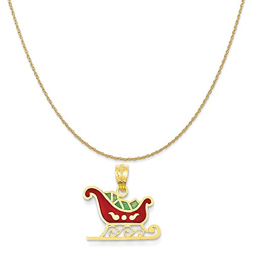(Mireval 14k Yellow Gold Enameled Sleigh Pendant on a 14K Yellow Gold Rope Chain Necklace, 16