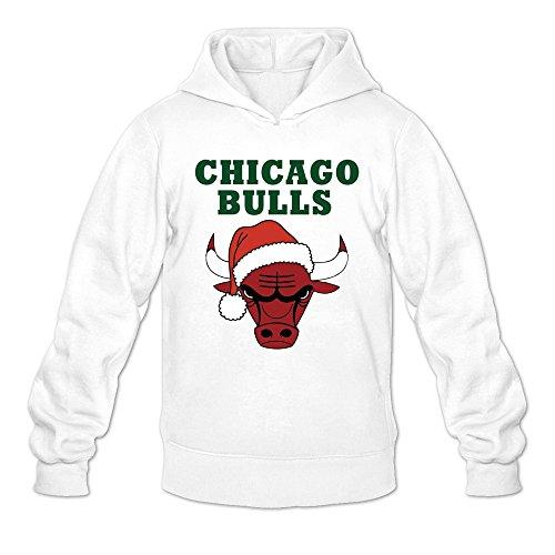 Chicago Bulls Logo Merry Christmas Hoodies Man's White ()