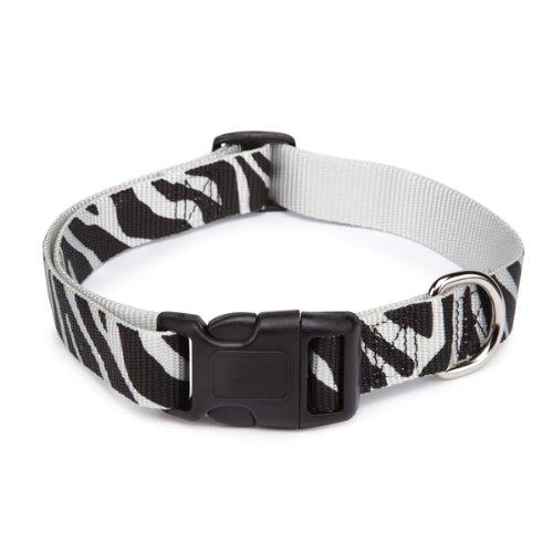 East Side Collection Zebra-Print Nylon Dog Collar, 10-16 Inch