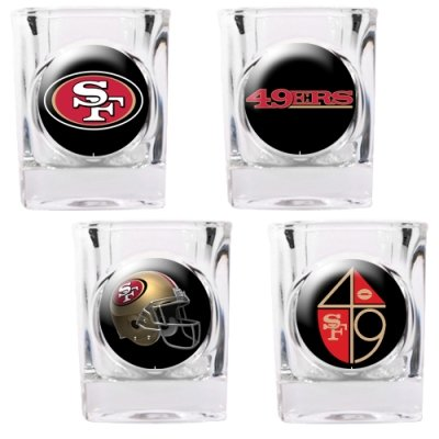 (NFL San Francisco 49ers Four Piece Square Shot Glass Set (Individual Logos))