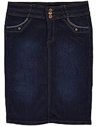Big Girls'Fan Pleat Belted Denim Skirt