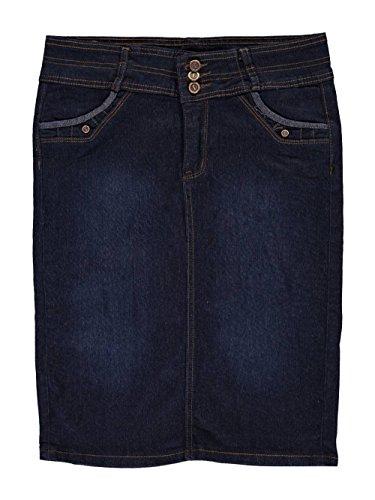 Jean Skirt Girls (No Fuze Big Girls' Fan Pleat Belted Denim Skirt - Dark Blue,)
