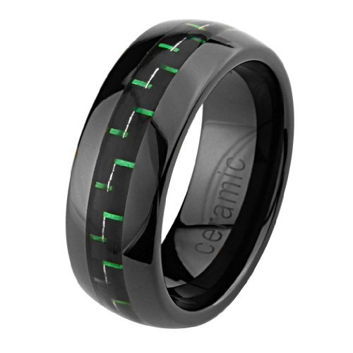 Ceramic Comfort Band - 8mm Round Edge Ceramic Comfort Fit Green Carbon Fiber Fibre Wedding Band Ring (Size 5 to 15) - Size 5
