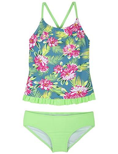 - Hilor Girl's Two Piece Swimsuits Ruffle Hem Tankini Set Cross Back Swimwear Set Green XL/14-16