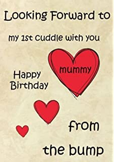a5 personalised happy birthday mummy 1st cuddle from the bump card refpidb11
