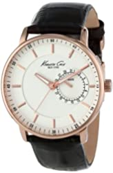 Kenneth Cole New York Men's KC1780 Rose Gold Analog Display Black Leather Watch